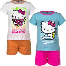 Neuf Vêtements de Nuit Lot Court Pyjamas Fille Hello Kitty Turquoise Blanc 98