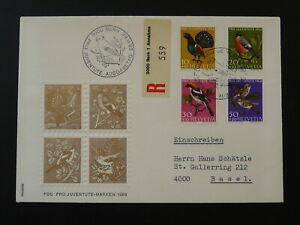 birds registered FDC Switzerland Pro Juventute 1968