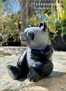 Natural Stone Panda Bear Hand Painted Figurine Animal Statue Figure VTG 1970's