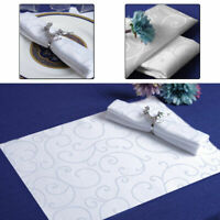 Damask White Table Napkin Cotton Polyester Swirl Pattern for Wedding Party Decor