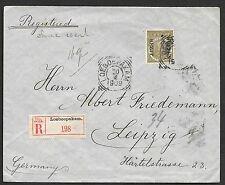Netherlands Indies covers 1909 20c Buiten Bezit R-cover Loeboepakam to Leipzig