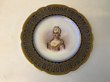 Antique French Sevres Porcelain Portrait Cabinet Plate Elisabeth d'Orleans