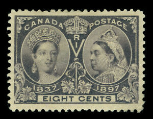 CANADA 1897  JUBILEE issue   8c dark violet  Scott # 56  mint MH