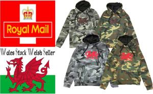 New Men's Wales Camo Cymru Am Byth Rugby Football Welsh Dragon Hoodies Top