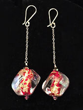 Sparkle 18K Dangle Earrings Bess Heitner Venetian Red Dichroic