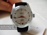 NOS NEW SWISS AUTOMATIC WATER RESISTANT WOMEN'S LANCO WATCH 1960'S WITH DATE