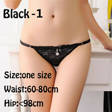 G String Thongs Lingerie Intimates Lace Panties Low Waist Knickers Black