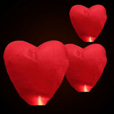 Heart Paper Chinese Lanterns Sky Fly Candle Lamps Wishing Party Wedding SE