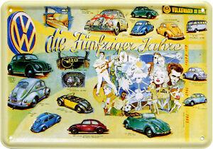 Carte Postale en Tôle / Métal VW 50er Années Elvis Marilyn Dean Coccinelle Bulli