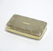 2 7/8 in - Sterling Silver Gold Wash Antique Floral Snuff Box