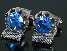 Vtg 1970s Cufflinks Wrap Around Silver Tone Blue Jeweled Stone