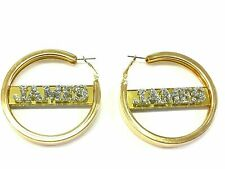 """Gold Hoop Earrings Name Plate Personalized 2.5"""" Size Custom Any Name Laser Cut"""