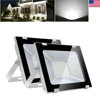 Garden Yard 2pcs 100W Cool White LED Flood Light Lamp Outdoor Lighting Spotlight