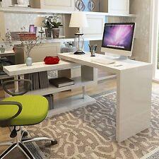 SIENA White High Gloss Large Computer PC Home Executive Study Office Corner Desk
