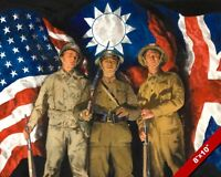 BRITISH US AMERICAN & CHINESE SOLDIERS OIL PAINTING ART REAL CANVAS GICLEE PRINT
