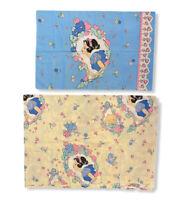 Vintage Disney Snow White Dopey Twin Size White Flat Bed Sheet Pillow Case Set