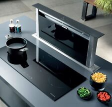Ariel Downdraft Cooker Hood Stainless Steel Black Glass