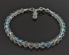 Sparkly Crystal Clear AB Faceted Bracelet Various Sizes Handmade Silver Plated