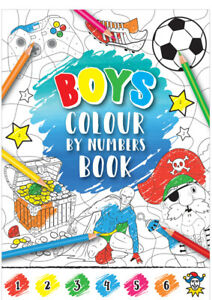 2 BOYS COLOUR BY NUMBERS BOOKS - COLOURING - football,pirates,gaming,superheroes