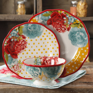 Blossom Jubilee 12 Piece Dinnerware Set Flowers and Polka Dots