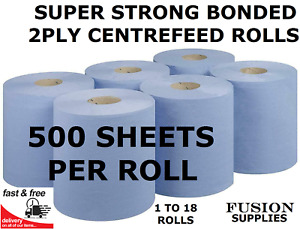 BLUE CENTREFEED ROLL,2 PLY,DIY WIPER,STRONG,INDUSTRIAL,TOWEL ROLL,KITCHEN PAPER