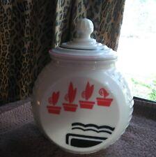 VINTAGE Fire King IVORY VITROCK FLOWER POT PATTERN Grease Jar in Mint Condition