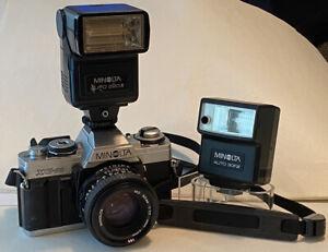 MINOLTA XG-M 35mm Camera with MD 50mm 1:1.7 Lens+Minolta Flash Auto 220X & 30FX