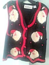 Ugly Christmas Sweater Vest Santa Claus Black Women's Large Belle Pointe