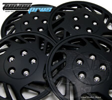 """Snap-On Hubcap 15"""" Inch Wheel Rim Skin Cover 4pcs Matte Black - 15 Inches #126"""