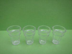 4 PCS GLASS CUP 1/6 SCALE MINIATURE DOLLHOUSE BAR FOOD BARBIE KEN SIZE