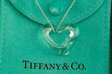 """Tiffany & co. RARE Peretti Crystal Open Heart Pendant 15.75"""" 925 Silver Necklace"""