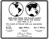 Replica of Plaque Left on Moon By Apollo 11 Astronauts 8x10 Photo