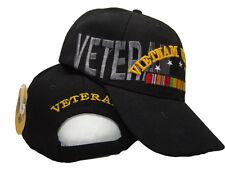 Black Vietnam War Veteran 5 Star Ribbon Veterans Shadow Ball Cap Hat (RUF)