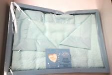 Pepperell Baby Blanket Blue Aqua Taffeta Binding Crib Infant Woven 36x50 NWT NOS