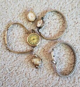 Lot (5) Vintage Ladies Watches Elgin Gruen Lathin