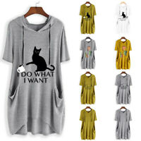 Women Print Cat Ear Hooded Short Sleeves Pocket Loose Top Blouse Shirt Plus Size