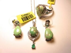 NWT Agate Gemstone .925 Sterling Silver Necklace Earring Ring Jewelry Set