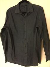 Mens Perry Ellis Button Front Dress Shirt Navy Pattern Large Slim Fit EUC