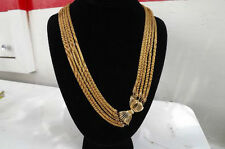 Vintage @@> Chunky Multi STUNNING Gold Tone Puff Snake Rope Mesh Runway Necklace