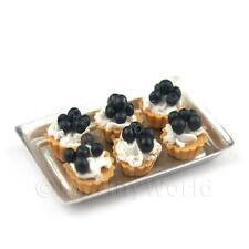 6 En Vrac Maison De Poupées Miniature Cerise Noire tartes sur plateau