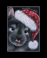 Christmas Rat ACEO Print Merry Christmas by I Garmashova