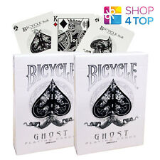 2 DECKS BICYCLE GHOST WHITE ELLUSIONIST PLAYING CARDS MAGIC TRICKS USPCC SEALED