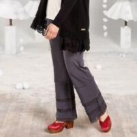 MATILDA JANE Women's MEDIUM Gray Ladies In Waiting FINN PANTS W/ Lace