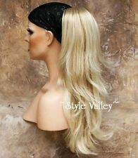 Light Blonde Mix Ponytail Extension Hair piece Long Straight Clip in on Wavy