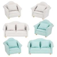 3Pcs Doll House 1:12 Scale Furniture Miniature Living Room Plaid Sofa Set