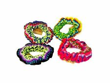 #255 Hair Scrunchies 4 Pack Set Handwoven Assorted Colors Fair Traded Peru Lot