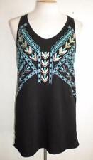MAURICES MS SZ LARGE BLACK SOUTHWEST FRONT PRINT SLEEVELESS V-NECKLINE KNIT TOP