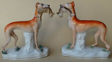 ANTIQUE STAFFORDSHIRE POTTERY DOG PAIR WHIPPET GREYHOUND WITH RABBIT 1860'S