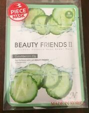 Korean K-Beauty 3 Masks Beauty Friends II Cucumber Essence Sheet Pack