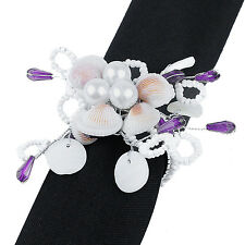 SET OF 6 SEASHELL AND PEARL NAPKIN RINGS, Have 100s Available for Events
